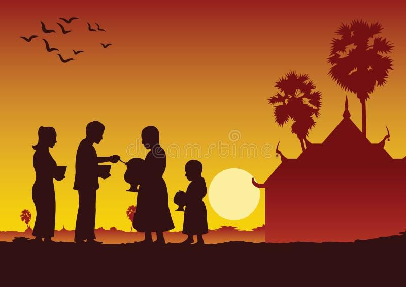 Coppia il buddista danno l'alimento che offre ad un monaco o chiedono come favore illustrazione vettoriale