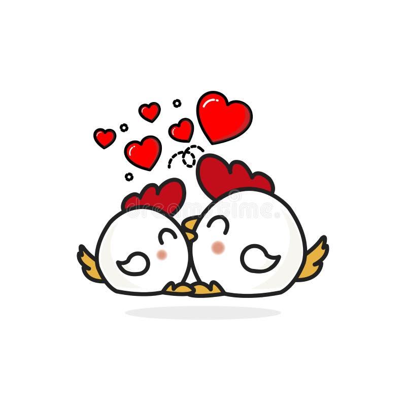 Coppia il carattere del pollo nell'amore con i cuori royalty illustrazione gratis