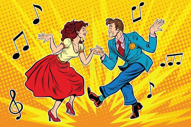 Coppia il dancing della donna e dell'uomo, ballo d'annata illustrazione vettoriale
