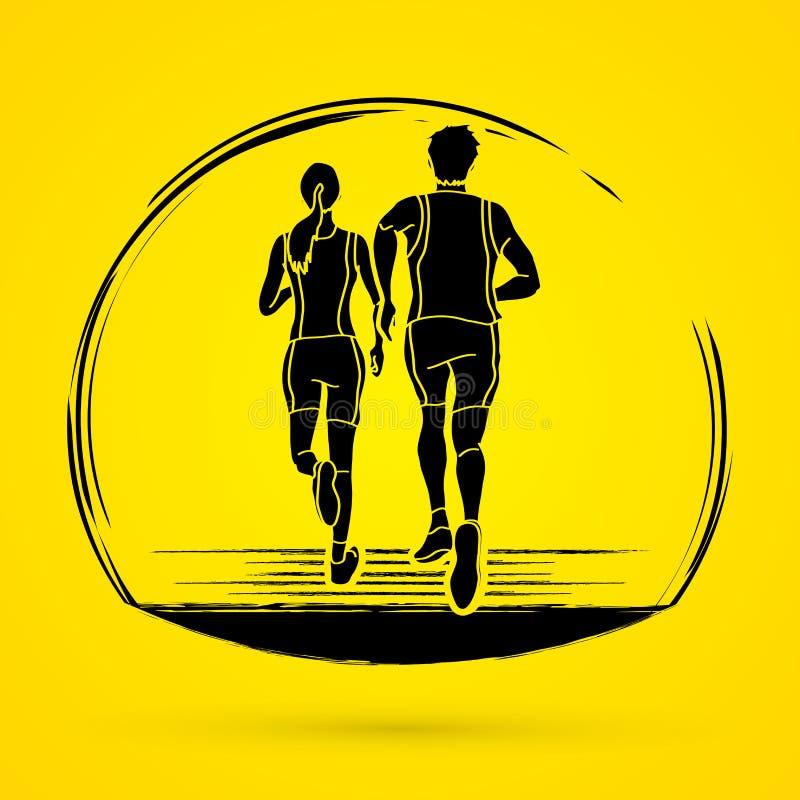 Coppia il funzionamento, il corridore maratona, l'uomo e la donna eseguire insieme il vettore grafico illustrazione di stock