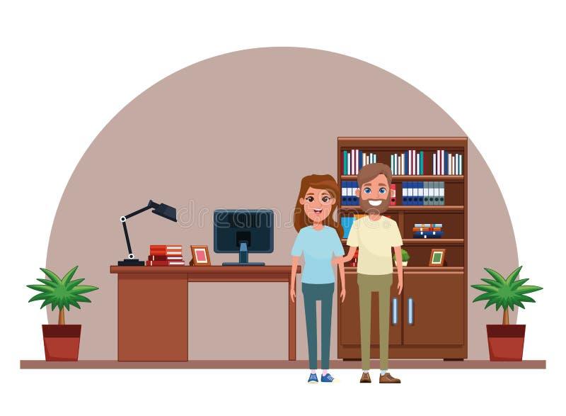 Coppia il ritratto del personaggio dei cartoni animati dell'avatar illustrazione vettoriale