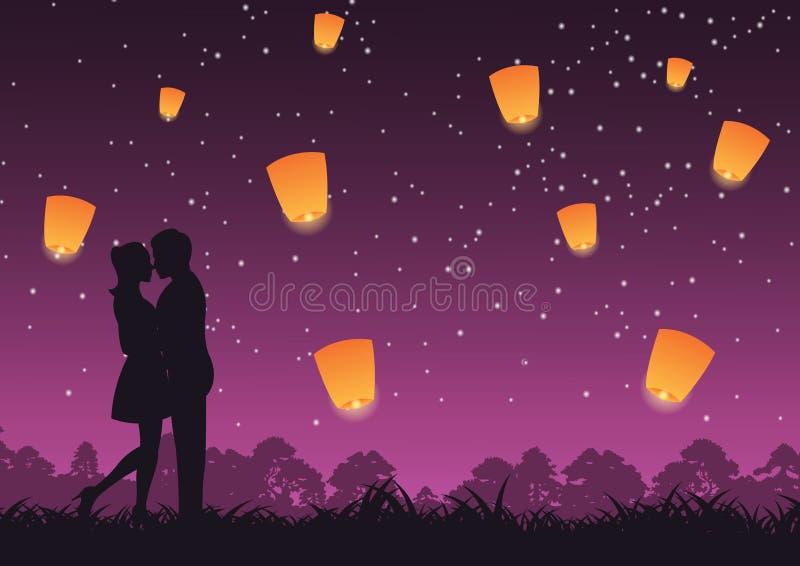 Coppia insieme l'abbraccio e baci intorno con la natura, lanterna qui sopra, arte di concetto royalty illustrazione gratis