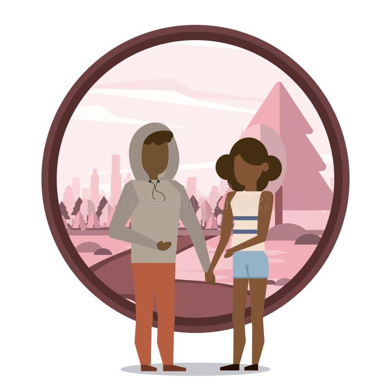 Coppia l'afro della donna e dell'uomo illustrazione vettoriale