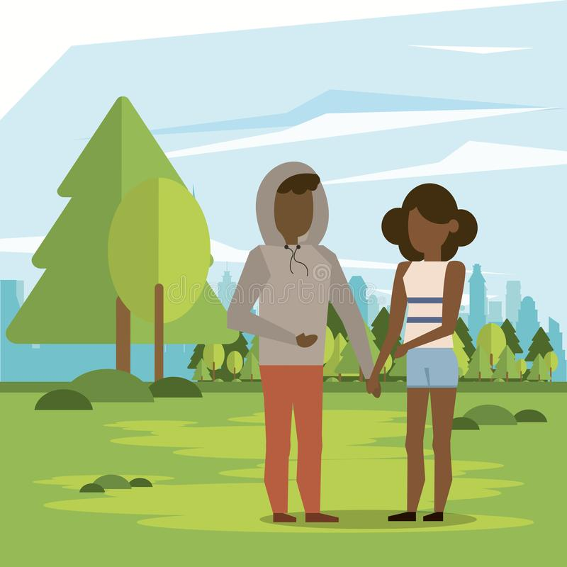 Coppia l'afro della donna e dell'uomo royalty illustrazione gratis