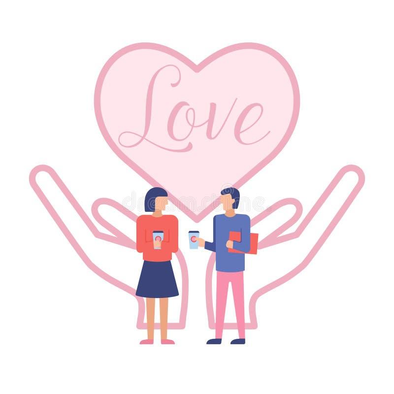 Coppia l'uomo e la donna sui precedenti delle mani che tengono il cuore royalty illustrazione gratis