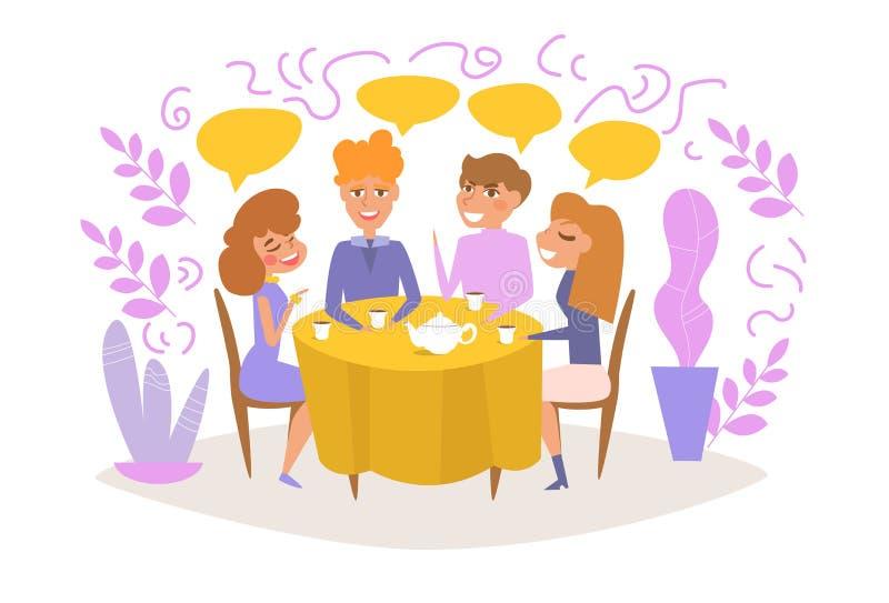 Coppia la data, amici fanno festa La gente si siede al vettore del tè della bevanda e della tavola fumetto Arte isolata su fondo  illustrazione di stock