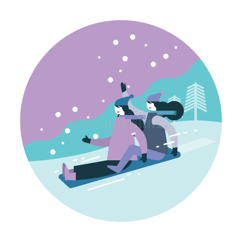 Coppia la donna che Sledding sulla neve illustrazione vettoriale