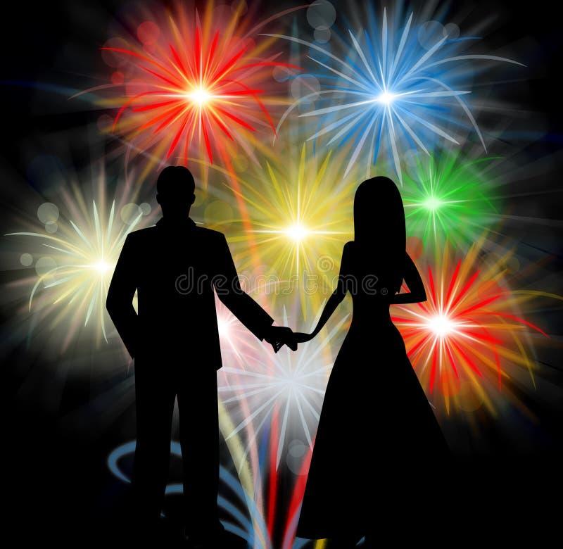 Coppia la siluetta in Front Of Fireworks Romantic Celebrations royalty illustrazione gratis