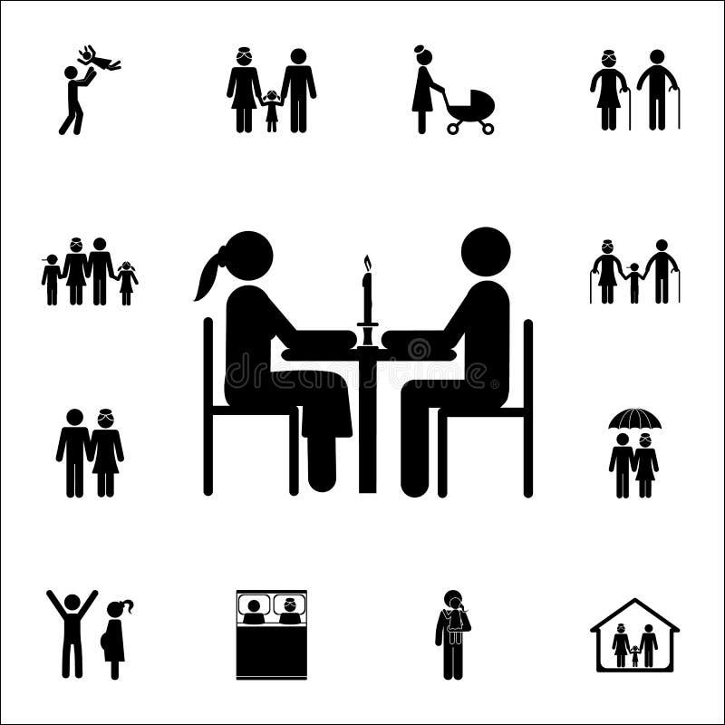 coppia sposata all'icona della cena Insieme dettagliato delle icone della famiglia Segno premio di progettazione grafica di quali royalty illustrazione gratis