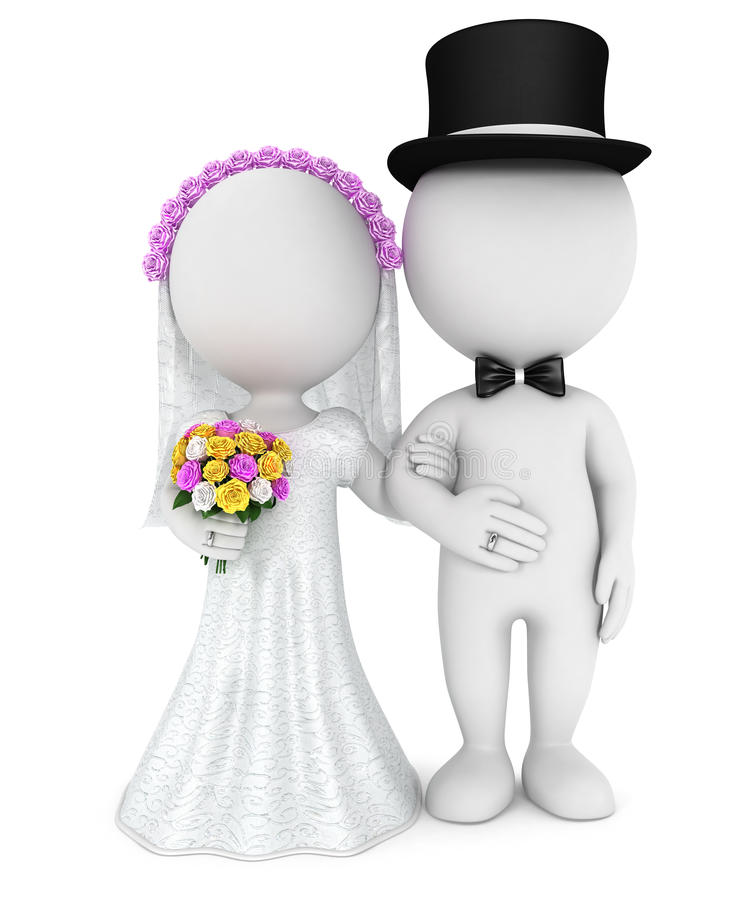 coppia sposata bianca della gente 3d appena illustrazione di stock