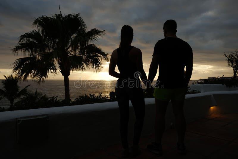 Coppie adatte che si tengono per mano sorveglianza del tramonto fotografia stock libera da diritti