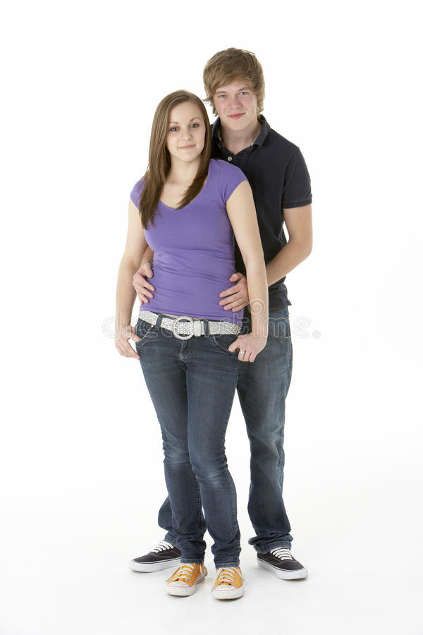 Coppie adolescenti in studio fotografie stock