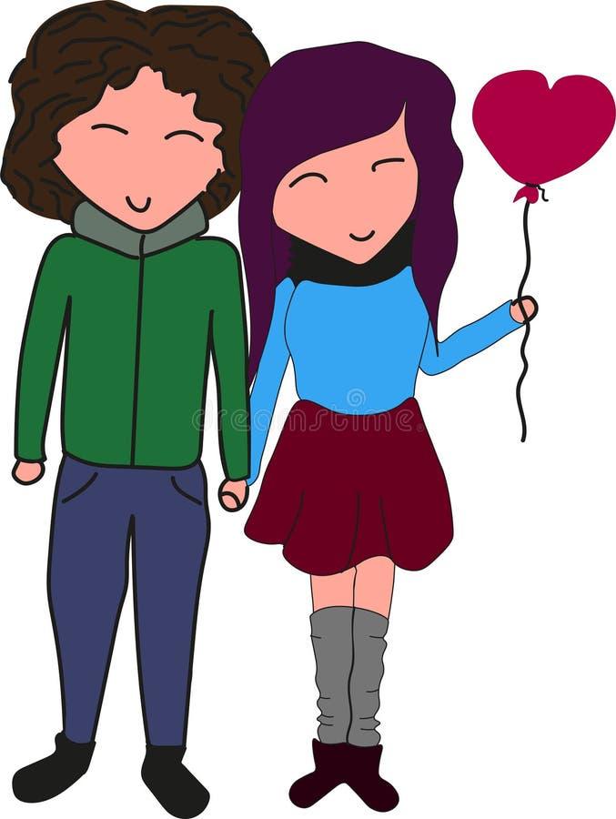Coppie adorabili piacevoli nel tenersi per mano di amore illustrazione di stock