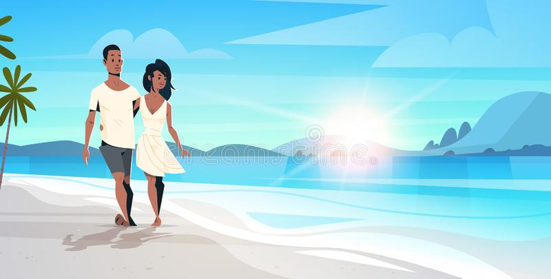 Coppie afroamericane nella donna dell'uomo di amore che abbraccia sulle vacanze estive tropicali di vista sul mare di alba della  illustrazione vettoriale