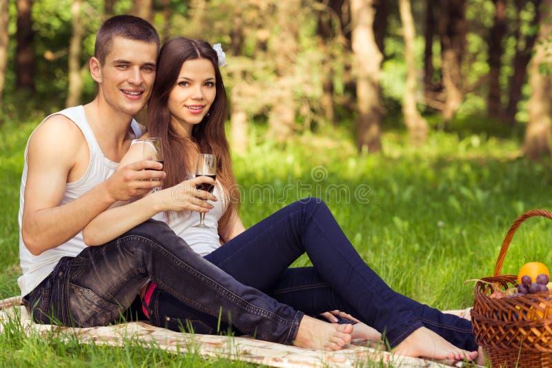 Coppie al picnic con i bicchieri di vino fotografia stock