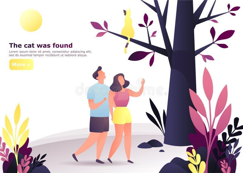 Coppie alla foresta o legno che cerca un gatto sull'albero illustrazione di stock