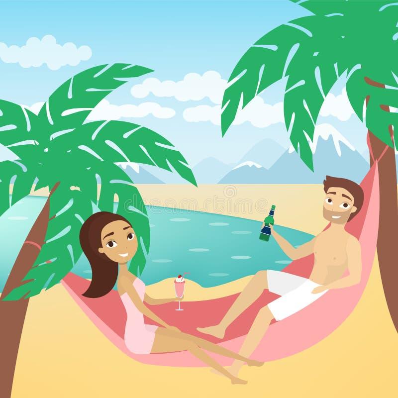 Coppie alla spiaggia illustrazione di stock