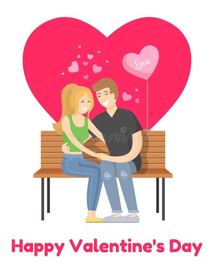 Coppie allegre di biglietti di S. Valentino del manifesto felice di giorno sul banco illustrazione vettoriale