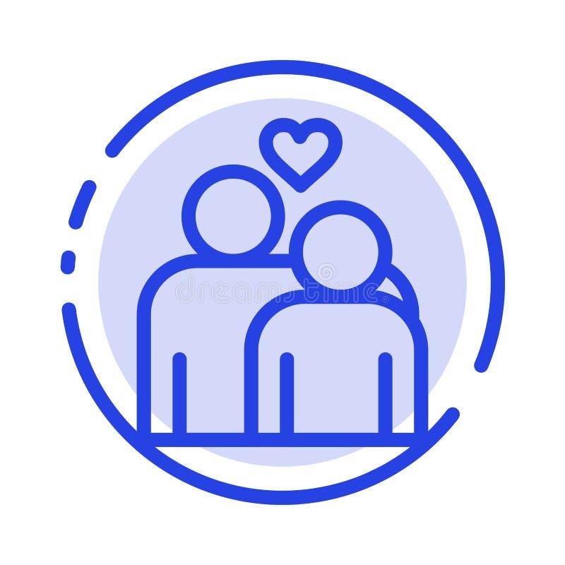 Coppie, amore, matrimonio, linea punteggiata blu linea icona del cuore illustrazione di stock