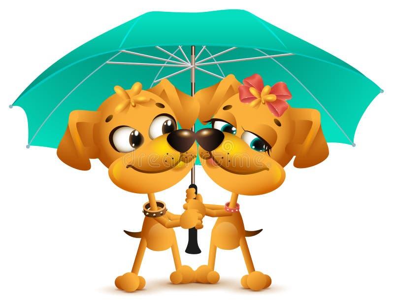 Coppie amorose del cane giallo che tengono un ombrello illustrazione vettoriale