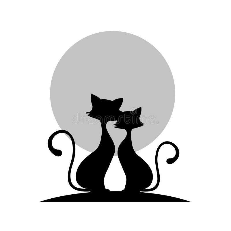 Coppie amorose dell'illustrazione di monocromio dei gatti royalty illustrazione gratis