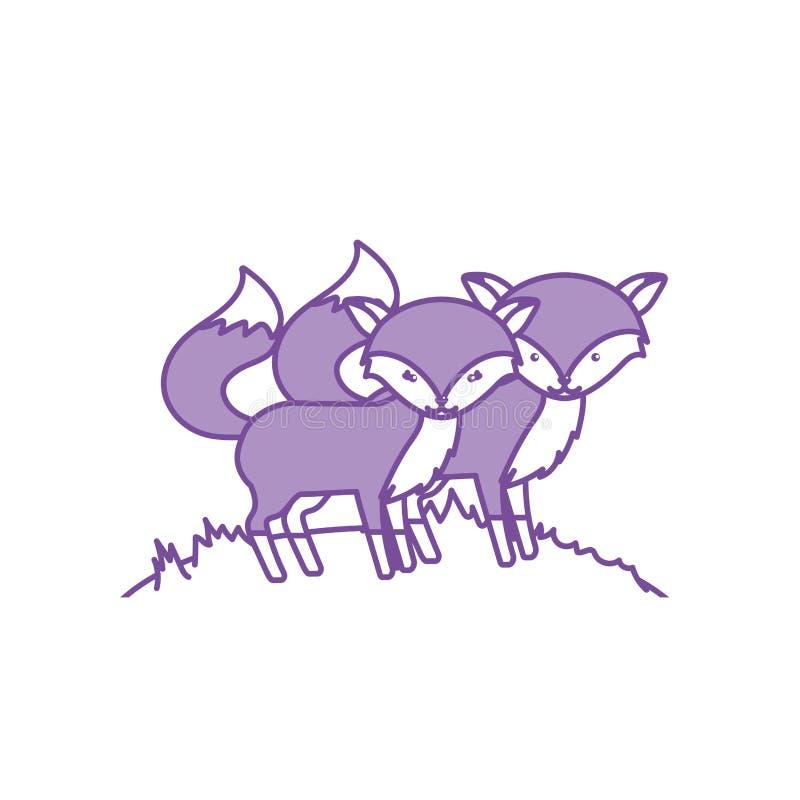 Coppie animali della volpe sveglia di contorno insieme illustrazione vettoriale