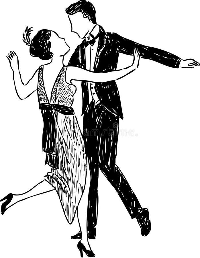 Coppie antiche di dancing illustrazione vettoriale