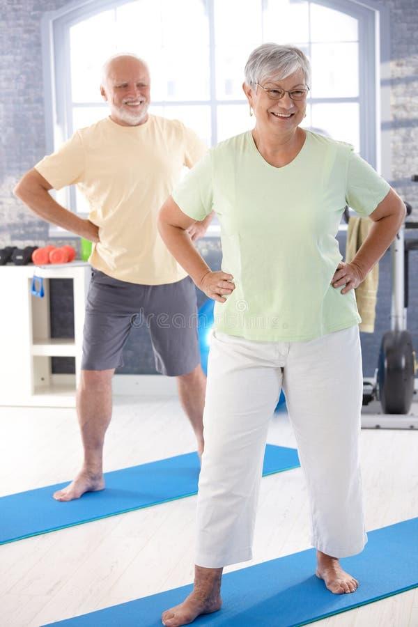 Coppie anziane che fanno le esercitazioni immagini stock