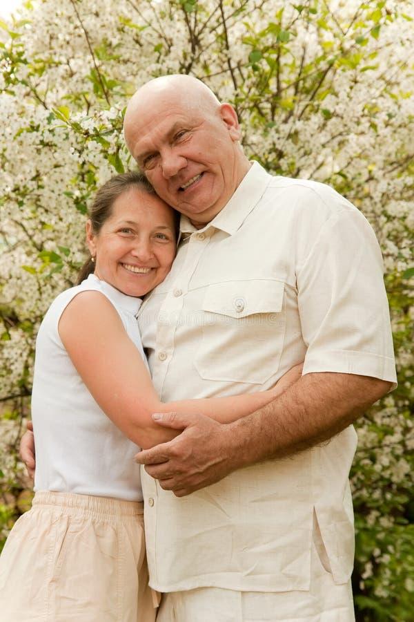 Coppie anziane in primavera fotografia stock libera da diritti