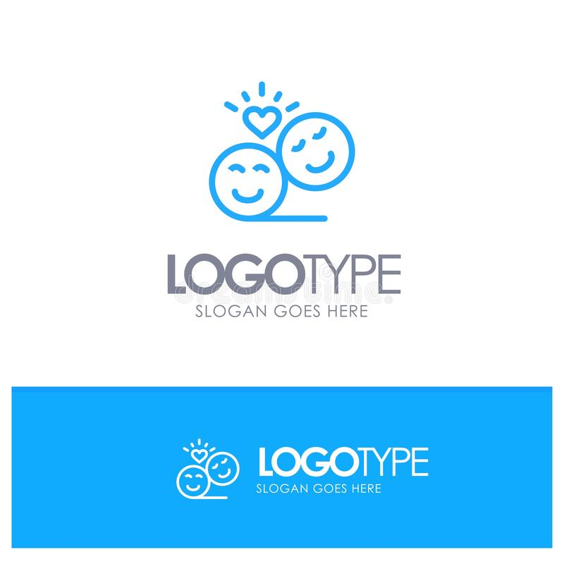 Coppie, avatar, Smiley Faces, Emojis, Valentine Blue Outline Logo Place per il Tagline illustrazione di stock