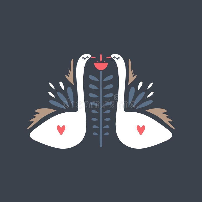 Coppie bianche dei cigni Uccelli nello stile scandinavo Ornamento piega nordico Reticolo con il fiore Etichetta, stampa Illustraz illustrazione di stock