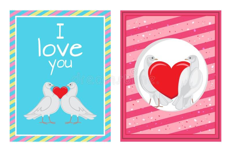 Coppie bianche delle colombe con le illustrazioni del cuore messe royalty illustrazione gratis