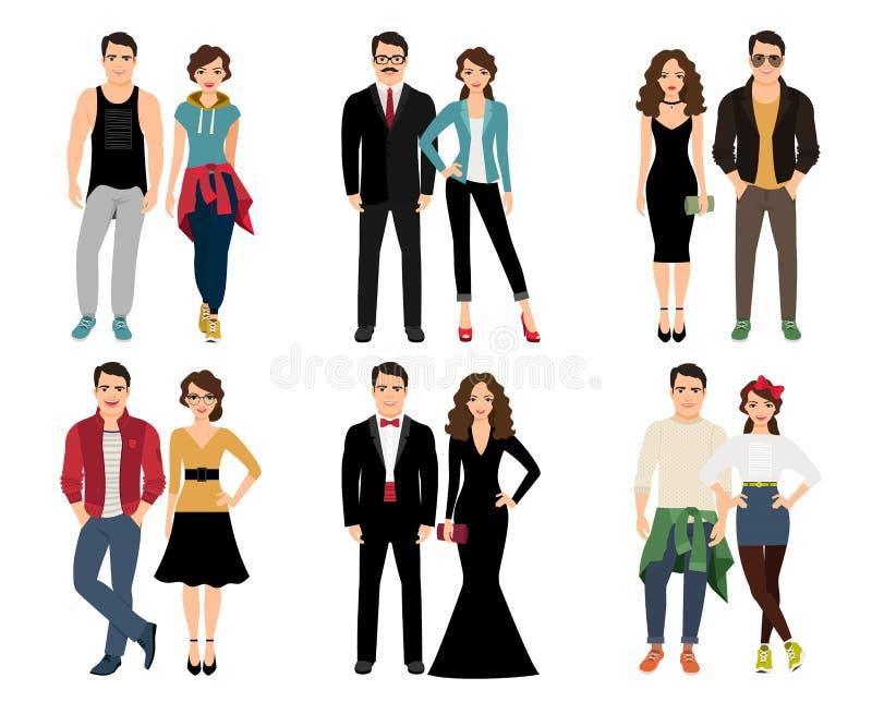 Coppie casuali di moda illustrazione vettoriale