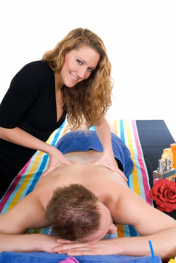 Coppie, centro della stazione termale, massaggio immagini stock