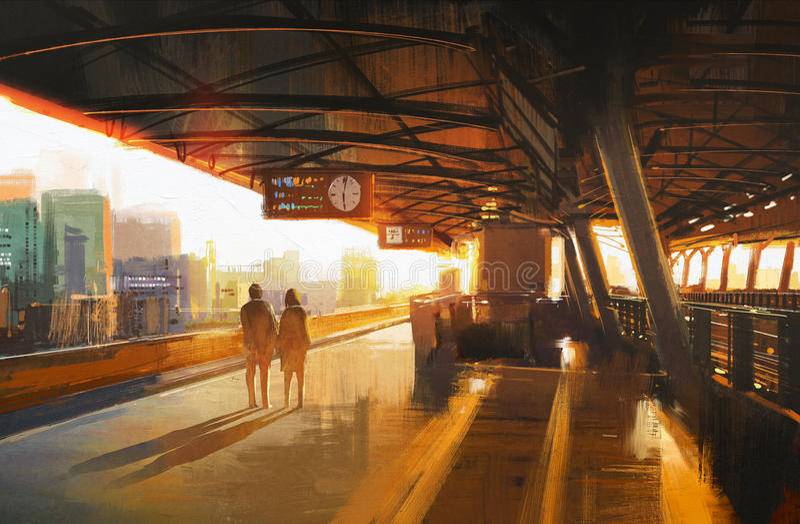 Coppie che aspettano un treno illustrazione di stock