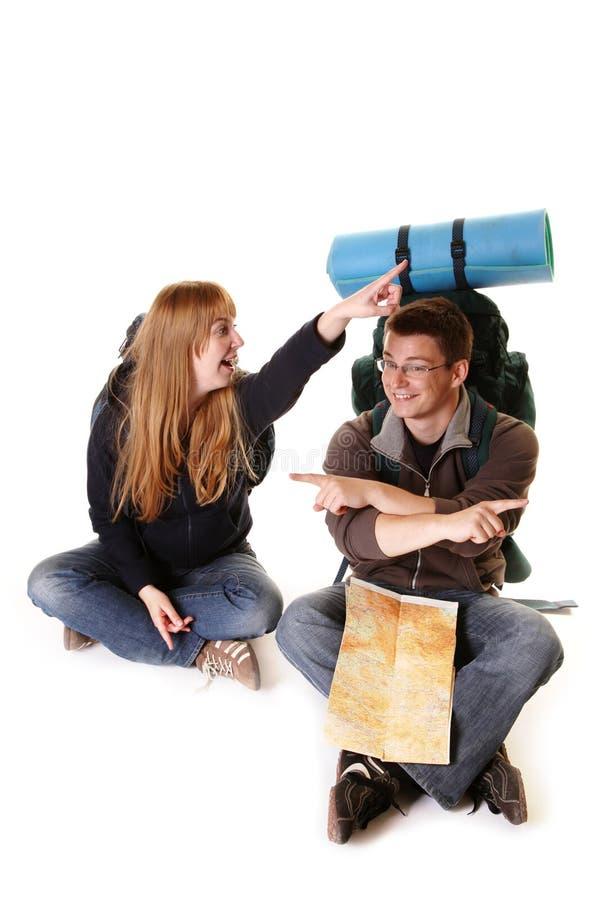 Coppie che backpacking immagine stock libera da diritti