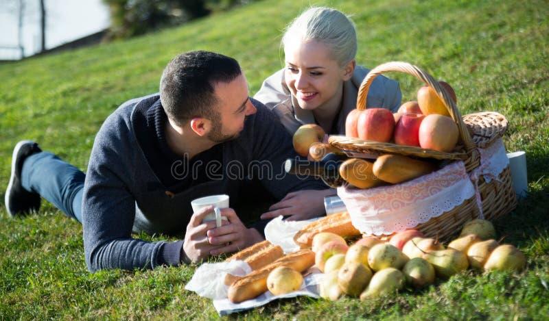 Coppie che bighellonano al picnic all'aperto immagini stock libere da diritti