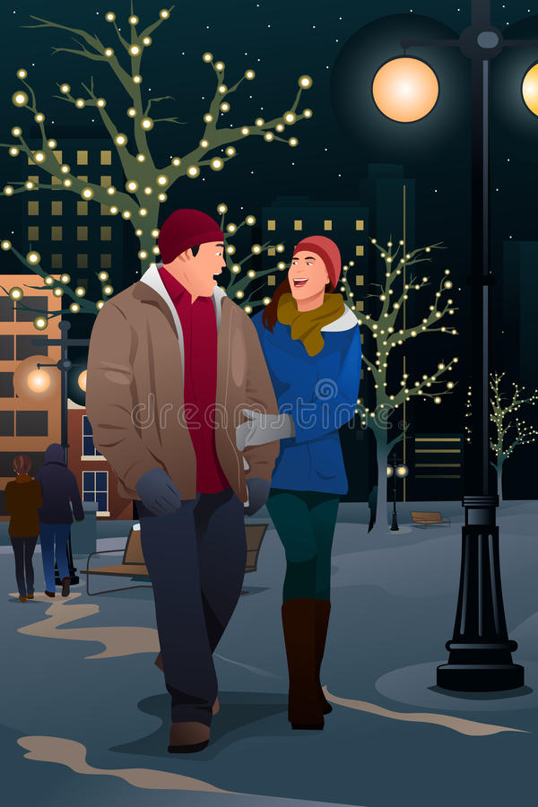 Coppie che camminano sulla via su una sera di inverno royalty illustrazione gratis