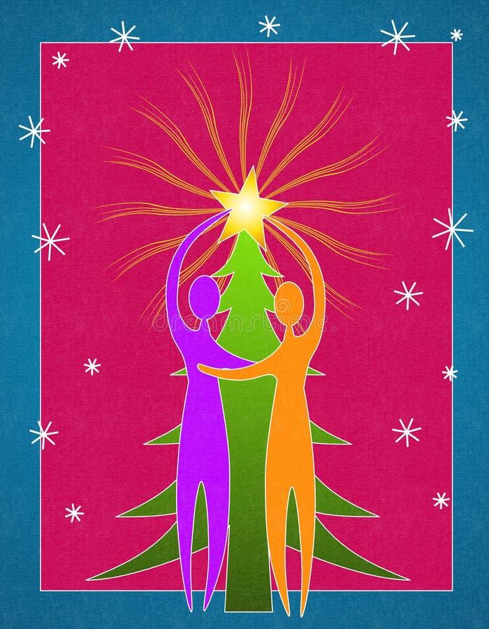 Coppie che decorano l'albero di Natale 2 royalty illustrazione gratis