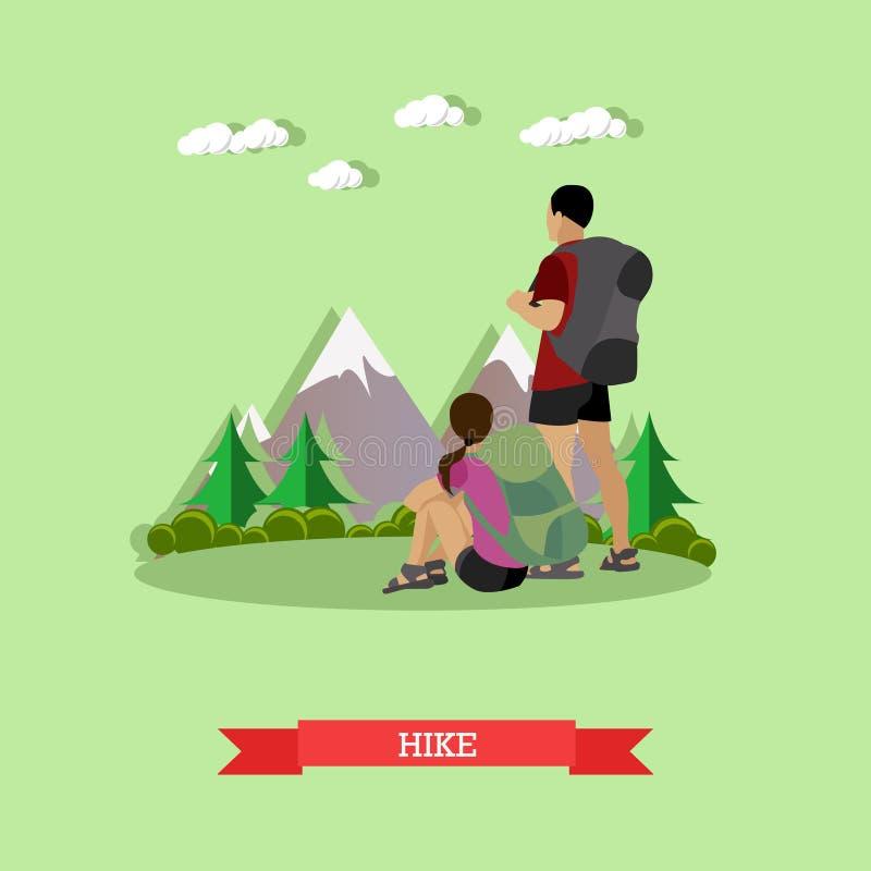 Coppie che fanno un'escursione in montagne Manifesto all'aperto di vettore di concetto di aumento illustrazione di stock