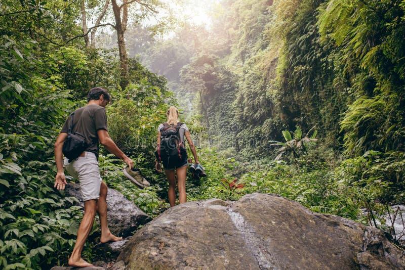 Coppie che fanno un'escursione sulla traccia di montagna immagine stock libera da diritti
