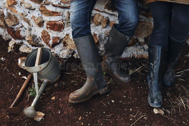 Coppie che lavorano insieme ad un'azienda agricola fotografia stock libera da diritti