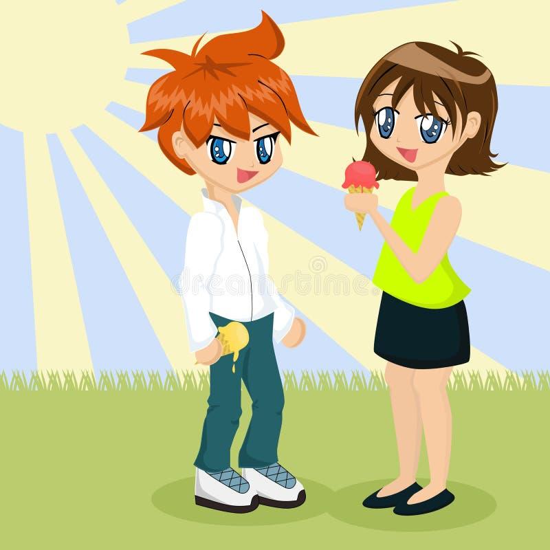 Coppie che mangiano gelato illustrazione vettoriale