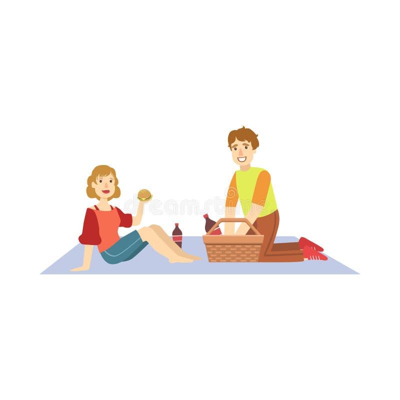 Coppie che mangiano gli hamburger sul picnic royalty illustrazione gratis