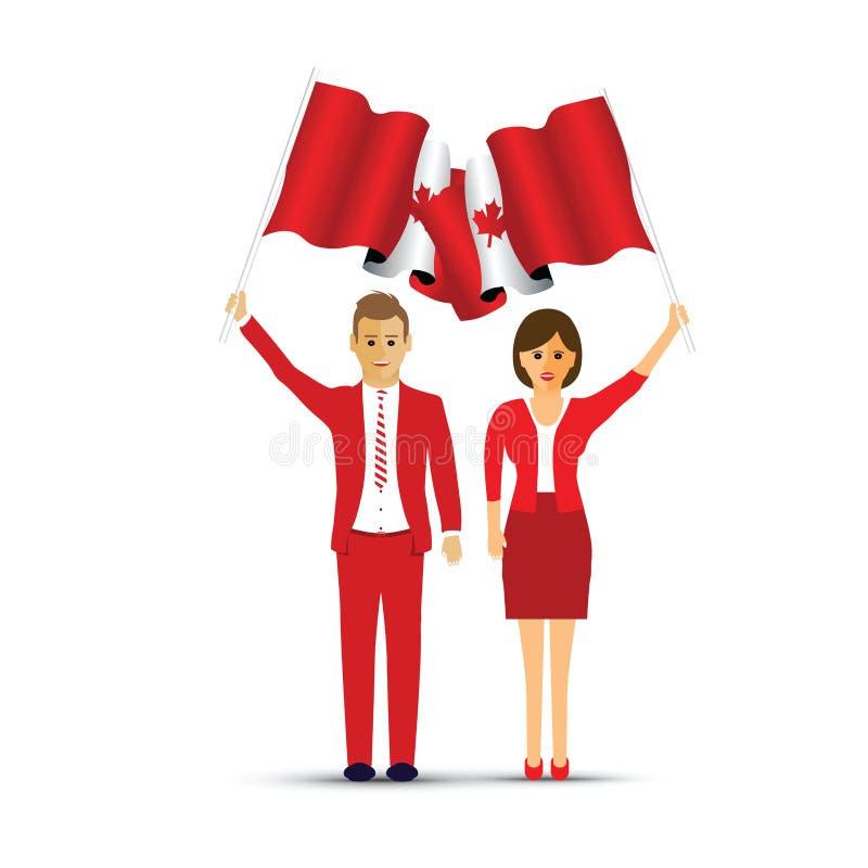 Coppie che ondeggiano le bandiere canadesi illustrazione vettoriale