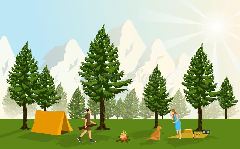 Coppie che si accampano in un'abetaia, con le montagne nevose che coprono ed i tramonti scintillanti come fondo royalty illustrazione gratis