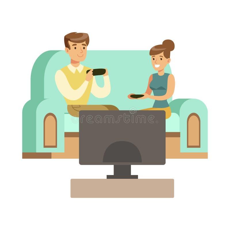 Coppie che si siedono su Sofa With Joysticks, parte dei Gamers felici che godono giocando video gioco, la gente all'interno che s illustrazione vettoriale