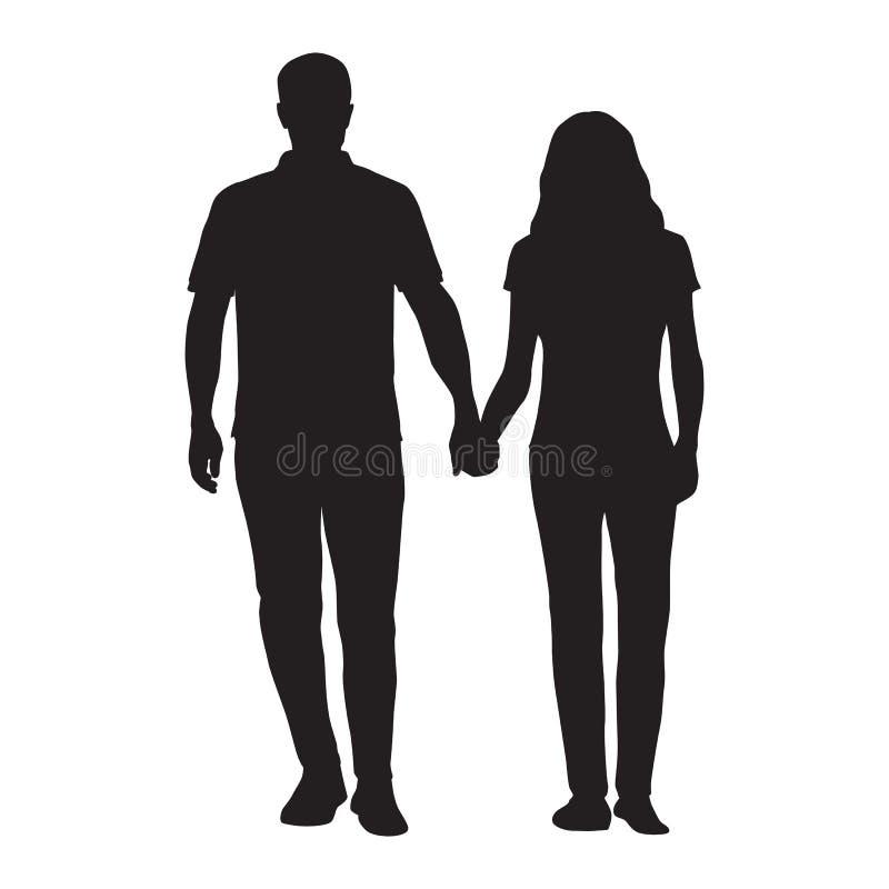 Coppie che si tengono per mano, datazione della donna e dell'uomo illustrazione vettoriale
