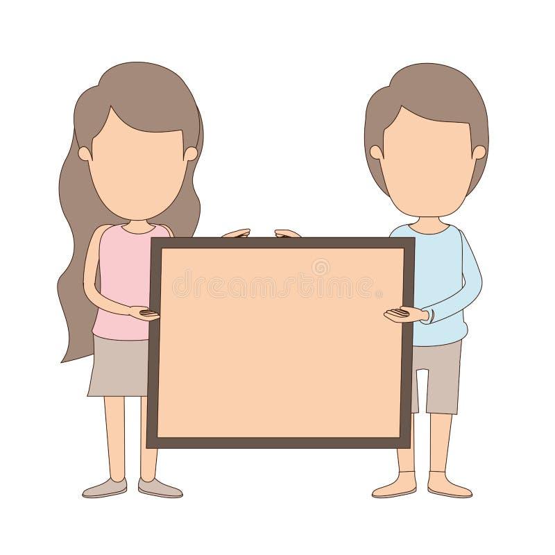 Coppie complete anonime del corpo di caricatura di colore leggero che tengono un manifesto quadrato royalty illustrazione gratis