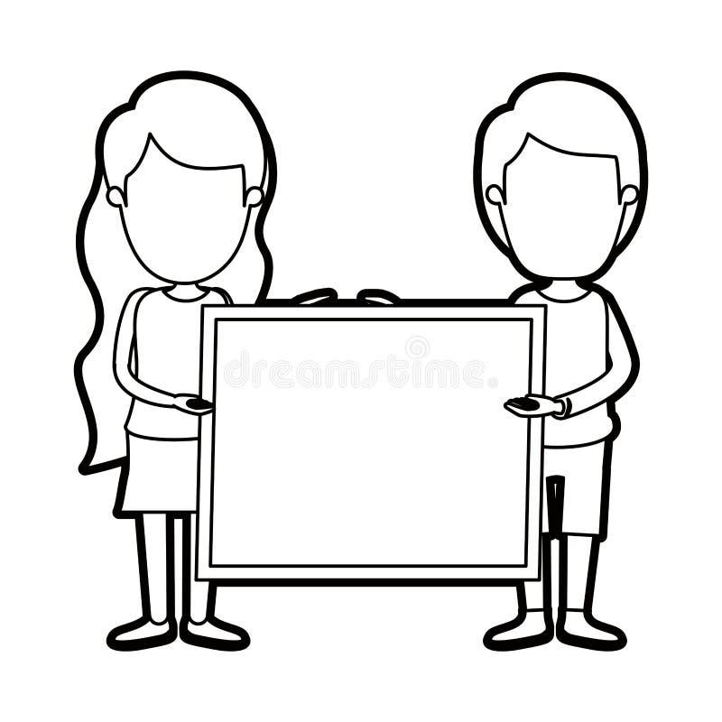 Coppie complete anonime del corpo di contorno spesso di caricatura che tengono un manifesto quadrato illustrazione vettoriale